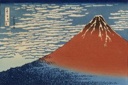 AFTER HOKUSAI 'Fine Wind, Clear Morning (Red Fuji) from 36 Views of Mount Fuji', woodblock print