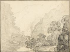 GEORGE ERNEST HOWMAN (c.1797-1878) In Glen Nevis, the White Fall in the distance, inscribed to an
