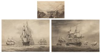 19TH CENTURY ENGLISH SCHOOL A man o' war in full sail and further shipping, a pair, etchings with