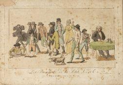 CHEZ DEPEVILLE, (Pubs) 'Les Bienfaits de la Petite Verole', etching, hand-coloured, 24 x 38cm