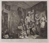 WILLIAM HOGARTH A Rake's Progress, etchings, plates I-VIII on chine applique, 35 x 40cm, unframed (