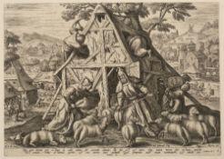 JULIUS GOLTZIUS AFTER MAARTEN DE VOS 'The Good Shepherd', 'The Bad Shepherd', 'Scene from life of
