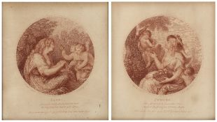 FRANCESCO BARTOLOZZI AFTER J.B. CIPRIANI 'Ceres' and 'Pomona', a pair, sepia stipple engravings,