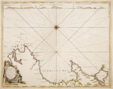 CAPTAIN GREENVILLE COLLINS Chart of The Coast of Wales, engraving, hand-coloured, 45 x 57cm; and