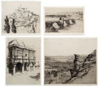 MARGARET M. RUDGE (1885-1972) 'The Bridge at Avignon', etching, pencil signed in the margin, 13 x