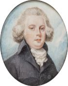 ENGLISH SCHOOL: EARLY 19TH CENTURY Portrait miniature of a gentleman with powdered wig, white cravat