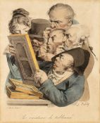 LEOPOLD BOILLY 'Les Amateurs de Tableaux', lithograph, hand-coloured, 27 x 22cm; and Phil May - A
