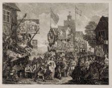 WILLIAM HOGARTH (1697-1764) 'Southwark Fair', engraving 1733, 36 x 46.5cm