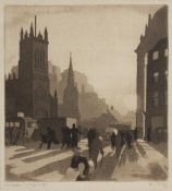 JOHN MACKAY (exh. 1930/1940) 'Edinburgh - Morning Sunlight', etching with aquatint, pencil signed in