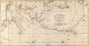 JAILLOT 'Carte de L'Entree de la Tamise avec les Bancs, Passes, Isles et Costes comprises entre