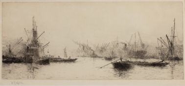 WILLIAM LIONEL WYLLIE (1851-1931) The Royal Albert Dock, London, etching, pencil signed in the