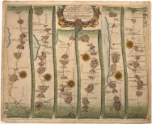 JOHN OGILBY The Road from St. David's to Holywell, engraving, hand-coloured, 36 x 45cm; another -