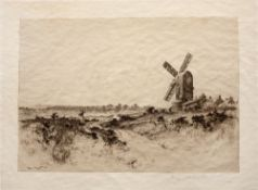 A folio of twelve etchings and aquatints including work by Percy Robertson, Claude Rowbotham and E