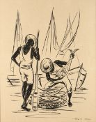 LEON D. Inspecting the catch, signed, pen and inks, 36.5 x 28.5cm; and a Japanese woodblock print
