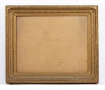 A 19TH CENTURY GILT FRAME with acanthus moulded border and cabochon corners, rebate 47.5 x 60.5cm