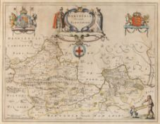 BLAEU Berkshire, engraving with figural title cartouche flanked by Royal Coats of Arms, hand-