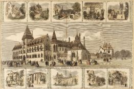 19TH CENTURY ENGLISH SCHOOL 'New Museum, Oxford', engraving, hand-coloured, 35 x 52cm