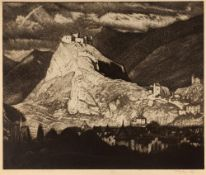 SYDNEY LEE (1866-1949) 'The Mountain Fortress', etching with aquatint, pencil signed in the