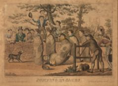 ROBERT CRUIKSHANK AFTER W.H. PYNE 'Jumping in Sacks', etching with aquatint, hand-coloured,