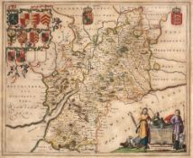 BLAEU Gloucestershire, engraving, the title cartouche adorned with farming folk and sheep, coats