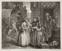 WILLIAM HOGARTH A Harlot's Progress, etchings, plates I-VI on chine applique, 31.5 x 38.5cm,