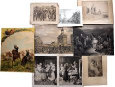 A folder of nine various engravings, lithographs and aquatints, etc