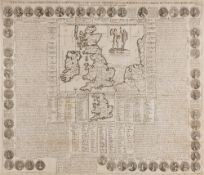 AN EARLY 18TH CENTURY FRENCH ENGRAVED MAP and history of Great Britain, under Roman and Saxon