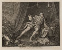 WILLIAM HOGARTH Mr Garrick in the Character of Richard the 3rd, etching on chine applique, 41.5 x