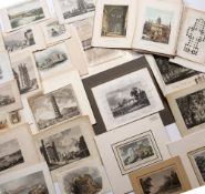 A box of forty eight assorted prints of country houses and topographical views, plus a bundle