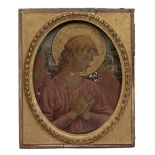 MANNER OF FRA ANGELICO An angel at prayer, indistinctly inscribed in pencil verso, oil and gold leaf