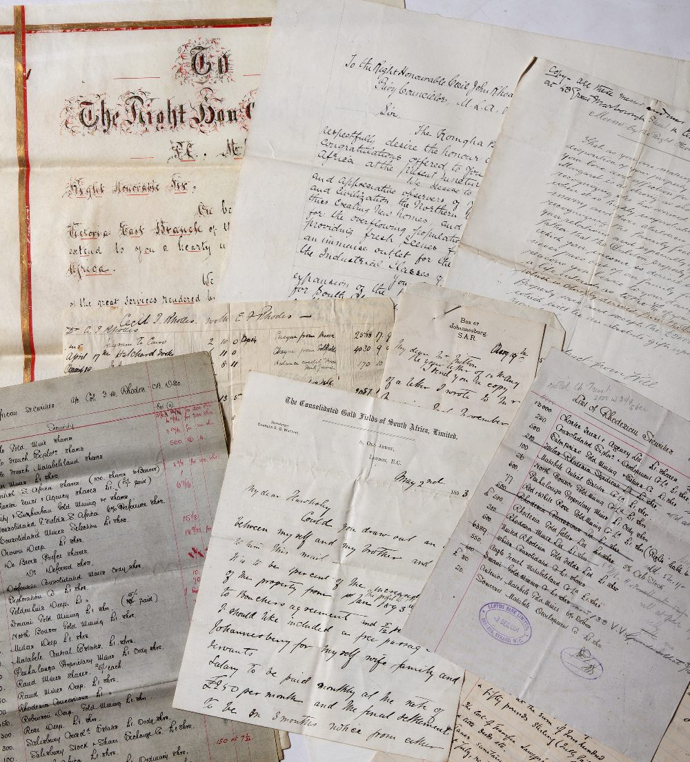 A LARGE QUANTITY OF CORRESPONDENCE: share certificates statements relating to the South African
