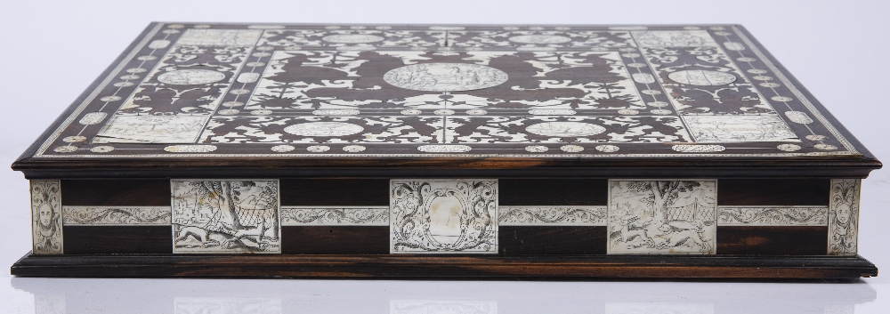 AN 18TH CENTURY ITALIAN ROSEWOOD AND IVORY WRITING SLOPE the top, front, sides and back with - Image 6 of 7