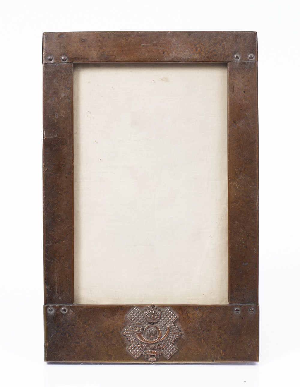 AN ARTS & CRAFTS BEATEN COPPER RECTANGULAR PHOTOGRAPH FRAME bearing the badge for the 74th - Image 2 of 3