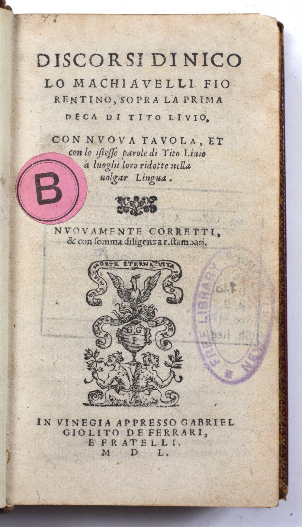 A 16TH CENTURY ITALIAN RENAISSANCE SMALL FORMAT TITLE:- Discorsi di Nicolo Machiavelli Fiorentino, - Image 2 of 2
