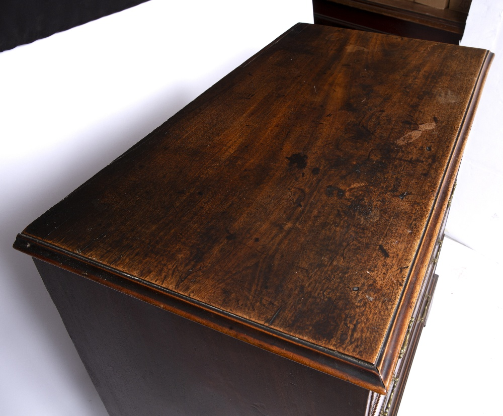 A GEORGE III MAHOGANY CHEST, the top with a moulded edge above four graduated long drawers, ogee - Image 2 of 6