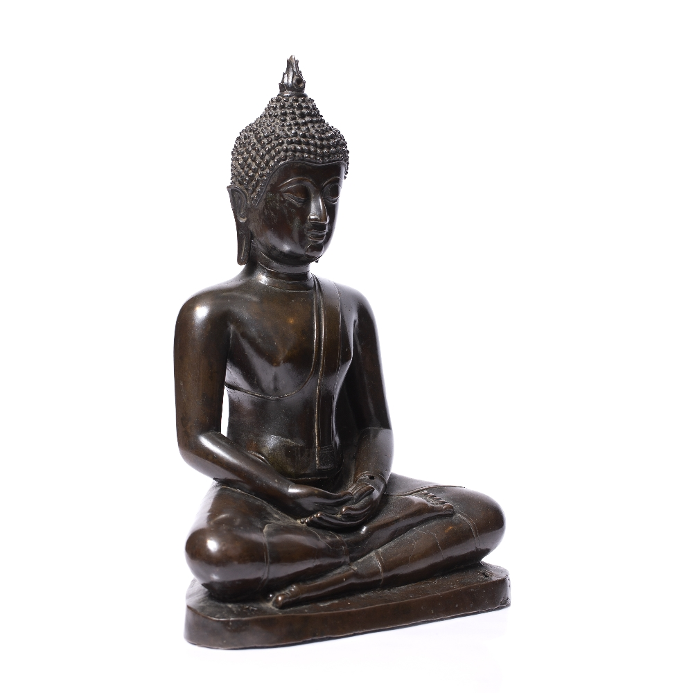 A LARGE BRONZE BUDDHA seated upon a stepped base with holes for attachment to a larger architectural - Image 5 of 5