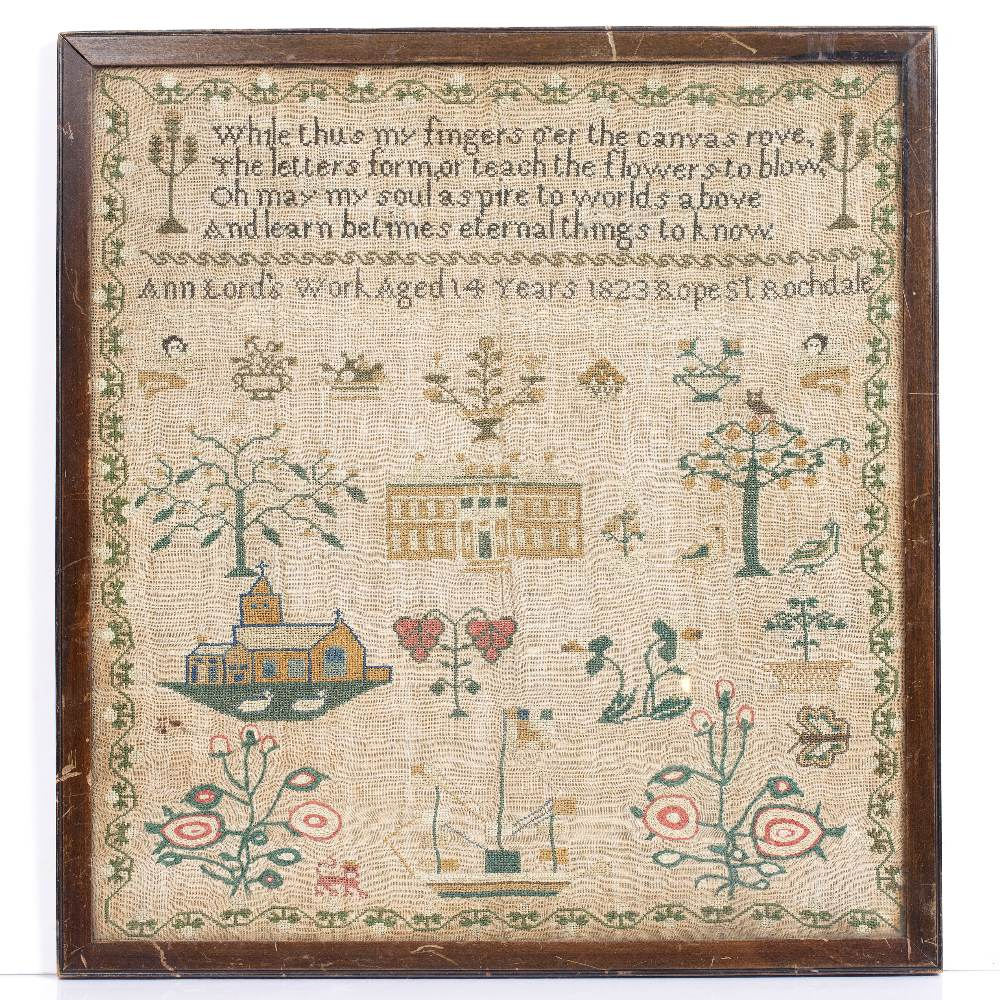 A GEORGE IV NEEDLEWORK SAMPLER worked by Ann Lord 'Aged 14 years, 1823 Rope St. Rochdale', woven