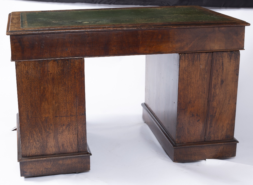 A MID VICTORIAN BURR AND FIGURED WALNUT PEDESTAL DESK with green leather inset top fitted with one - Image 5 of 5