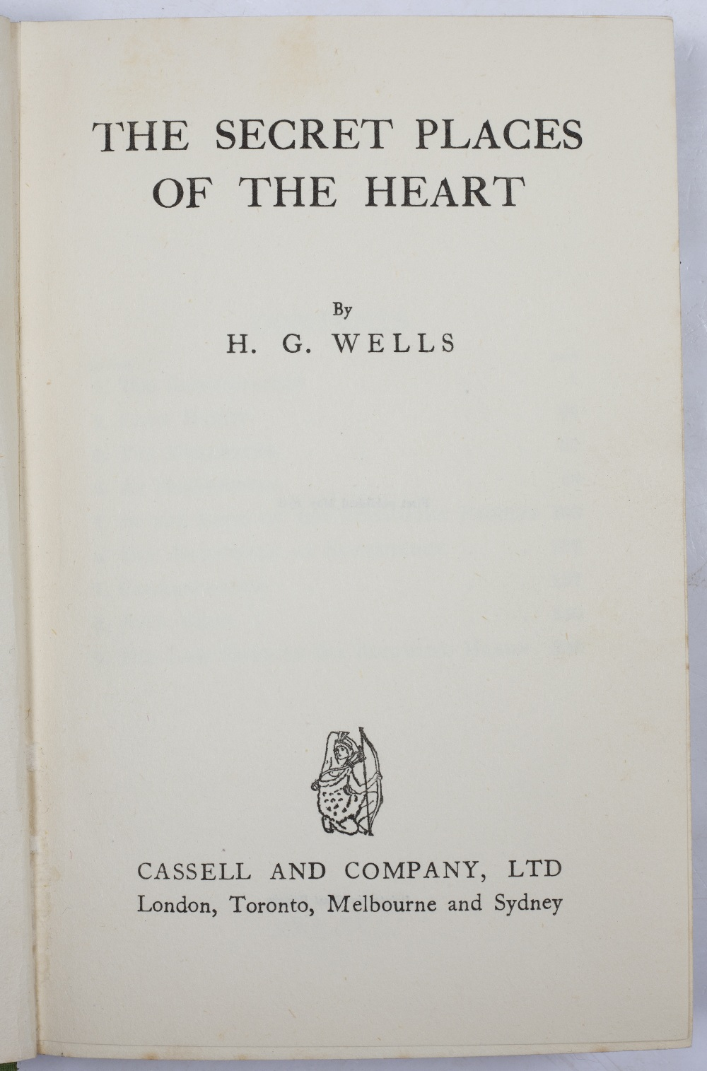 WELLS, Herbert George (1866-1946) 'The Secret Places of the Heart', First Edition. Cassell and - Image 2 of 2