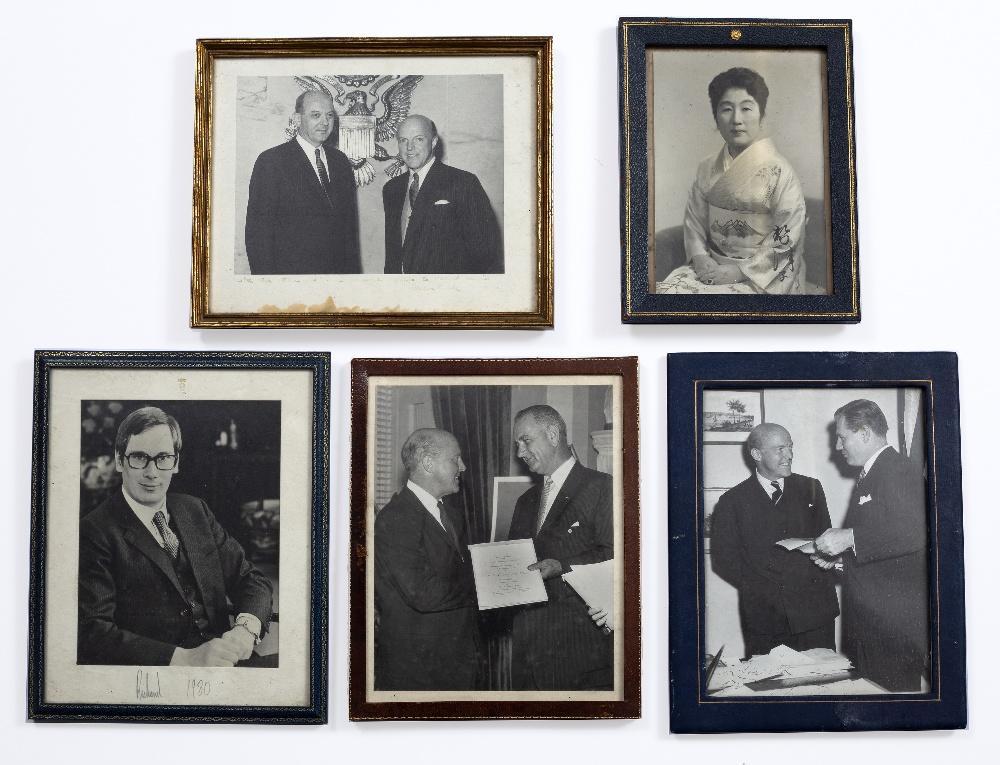 LYNDON JOHNSON (1908-1973), 36TH U.S. PRESIDENT, AND SIR HAROLD CACCIA, black and white
