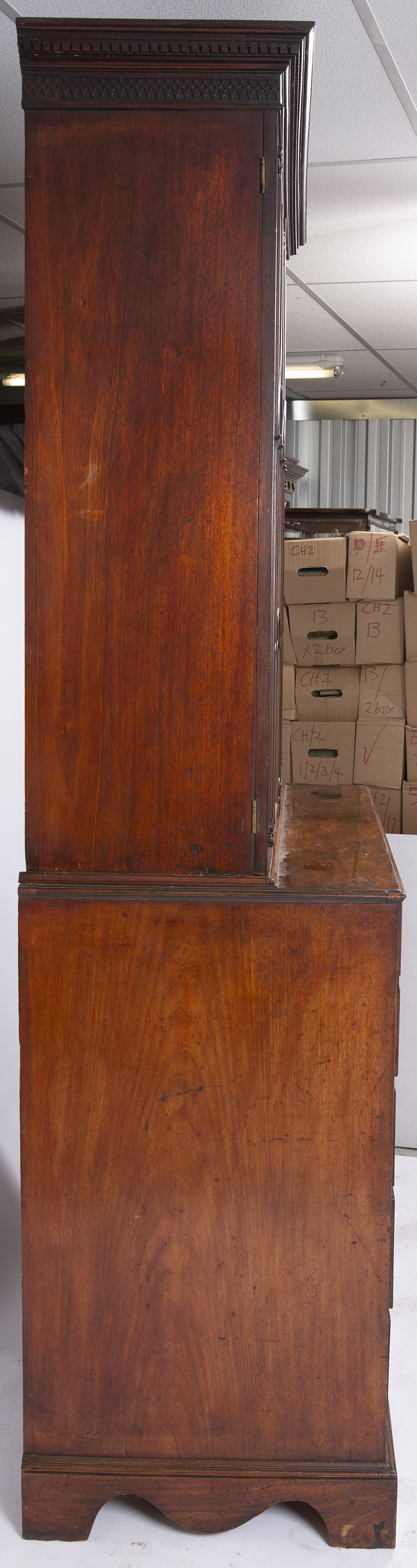 A GEORGE III MAHOGANY SECRETAIRE BOOKCASE, the upper part with a dentil moulded cornice above - Image 3 of 5