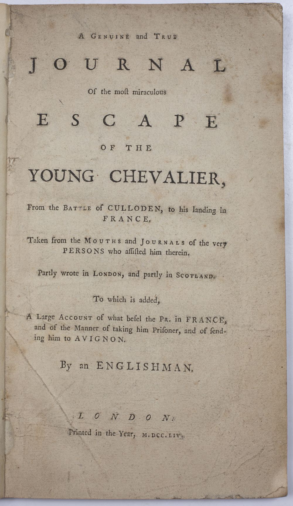 'A Genuine and True Journal of the Most Miraculous Escape of the Young Chevalier from the Battle - Image 2 of 3