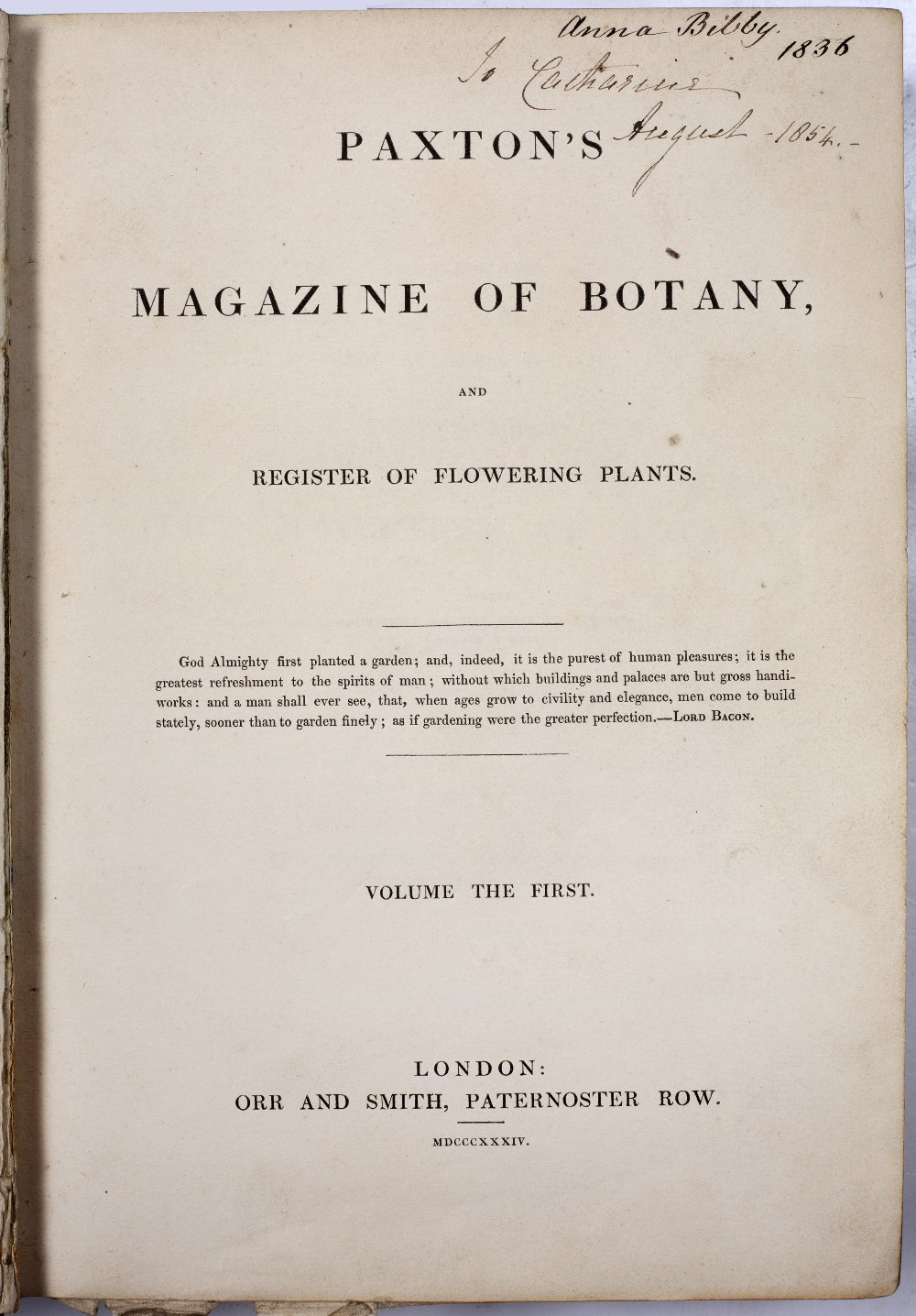 PAXTON'S MAGAZINE OF BOTANY FOR 1833/1834 with multiple coloured plates, Orr and Smith, London. 8vo. - Image 2 of 3
