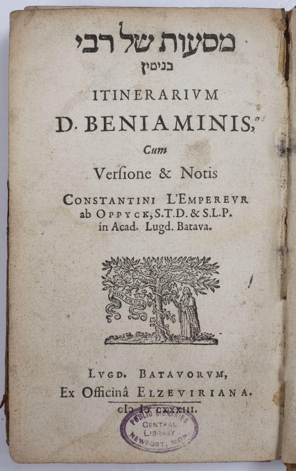 BENJAMIN, Ben Jonah of Tudela, Itinerarium D. Beniaminis cum Versione et Notu Constantini L' - Image 2 of 2