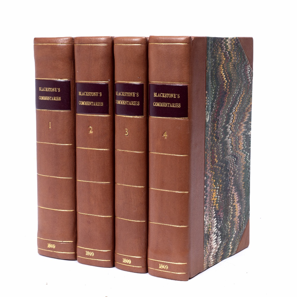 BLACKSTONE, William, 'Commentaries on the Laws of England' Strahan, London 1809. 4 vols. Thick