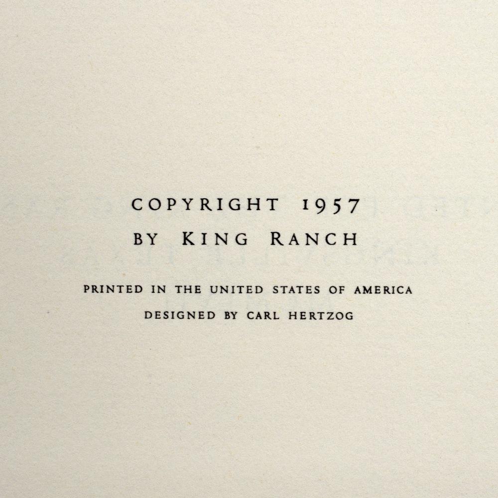 LEA, Tom, The King Ranch, Kingsville Texas. Carl Hertzog, El Paso 1957. Saddle Blanket Edition. - Image 6 of 7