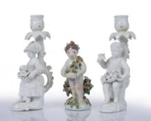 A PAIR OF DERBY WHITE GLAZED FIGURAL CANDLESTICKS, modelled with a boy with fruit and a girl with