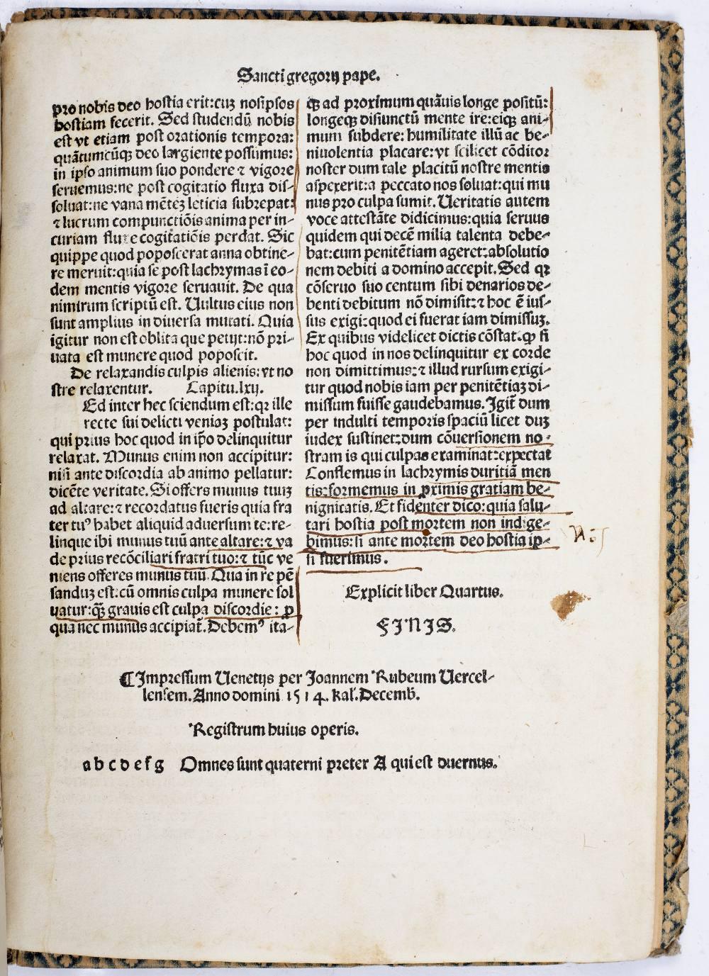 POPE GREGORY I (540-604) Dyalogus Sancti Joannem Rubeum Vercellensem. Venice December 1514. 4 - Image 2 of 4