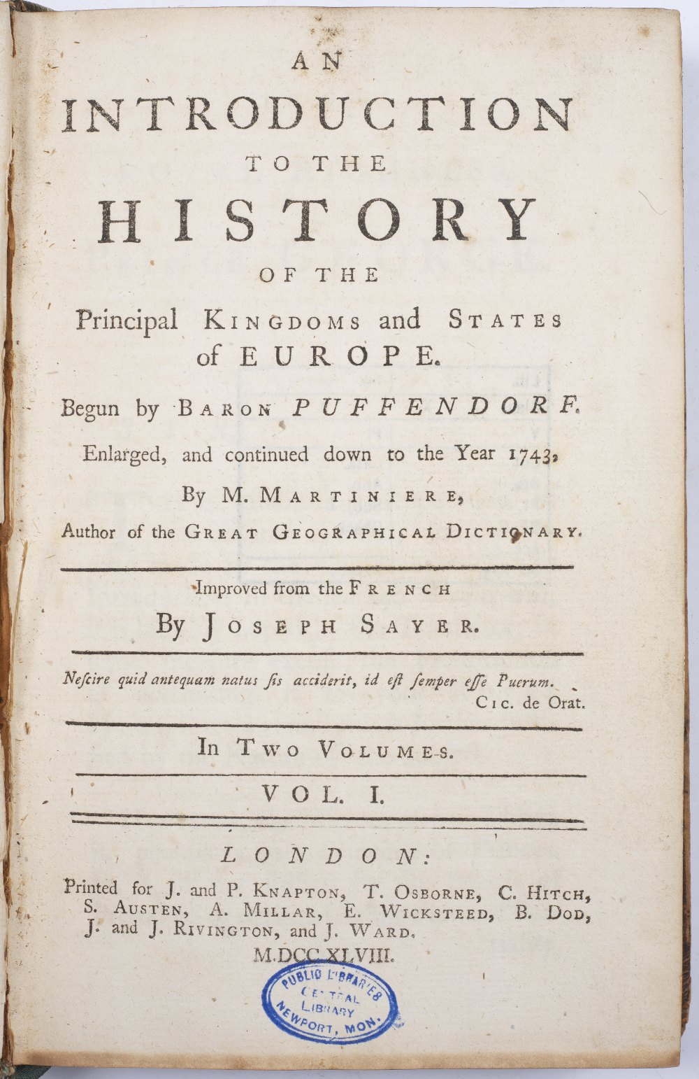 SAYER, Joseph, An Introduction to the History of the Principal Kingdoms and States of Europe, - Image 2 of 4