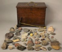 A 19TH CENTURY OAK BOX CONTAINING A LARGE QUANTITY OF MINERAL AND FOSSIL SPECIMENS together with a